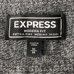 Express Sweaters - Express Men's Gray Sweaters V-Neck Merino Wool M